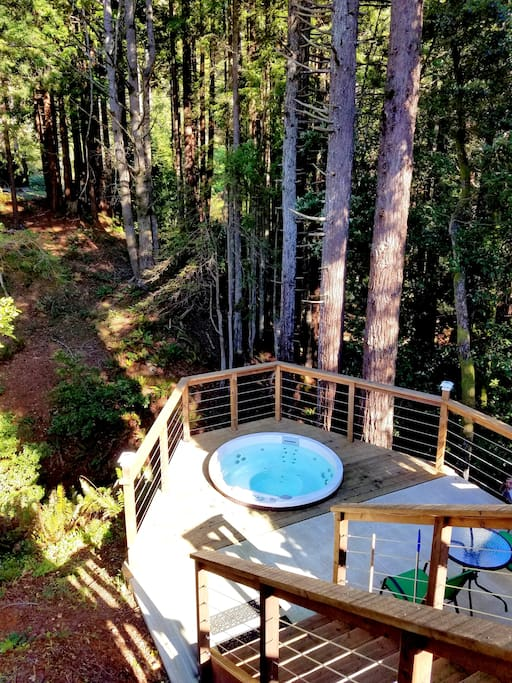 Relax in the hot tub surrounded by the nature....Look over the creek! You will see a BUDDHA smiling at you.  Even during winter months, our guests loved this hot tub!