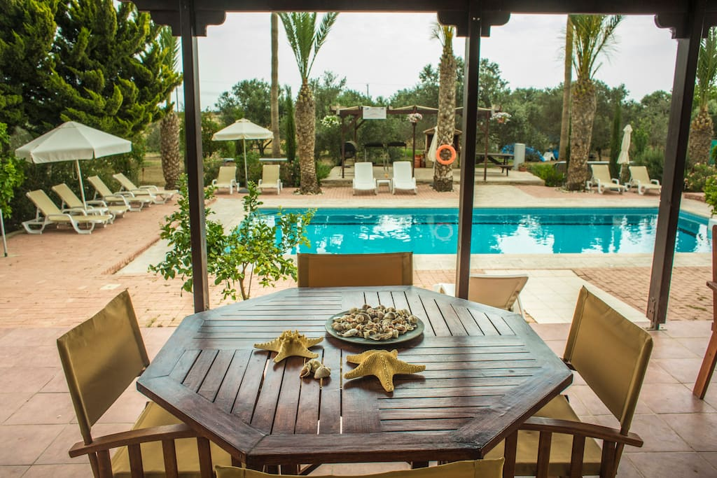 Can you imagine having breakfast here every morning? You can enjoy freshly squeezed orange juice from the trees in the garden !