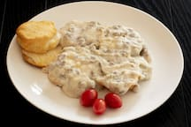 Hot biscuits and gravy can be a stand-alone meal or added to one of the other options on our menu.