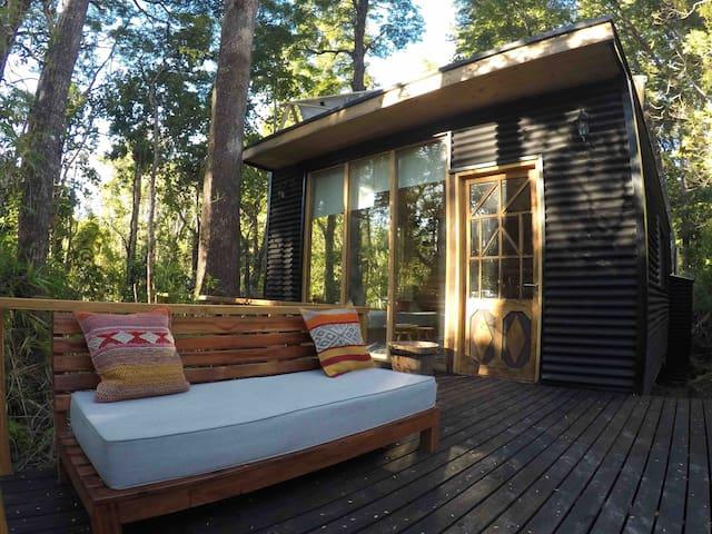 Maravillosa cabaña en medio de bosque nativo