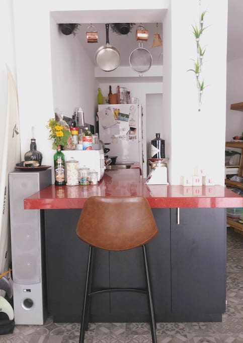 The bar - view to the kitchen and to the salon