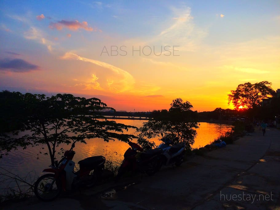 Sunset in front of ABS House