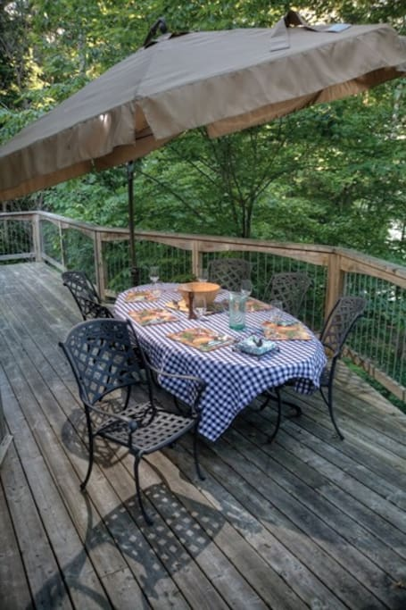 Large Deck for dining with Umbrella