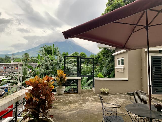 The amazing view of the Majestic Mt. Mayon from our Deck.  Perfect for launching your Drones or simply relaxing after a long day!
