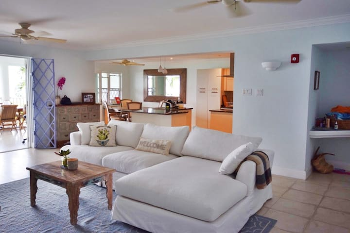 The large open plan living area makes lounging easy