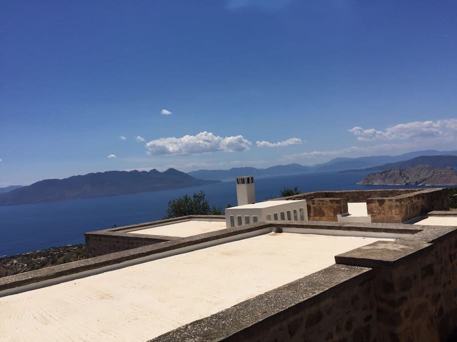 As you arrive you see the terrace with the skylight and  view of the Peloponese