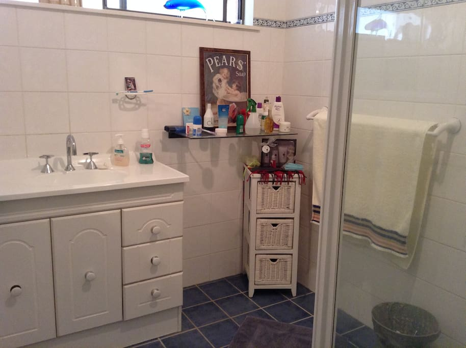 Clean, tidy bathroom with roomy shower