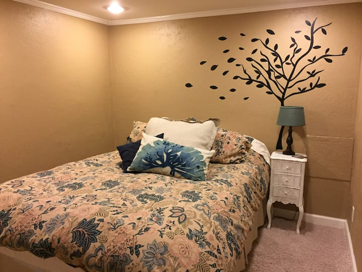 Basement bedroom near Wheaton College and train