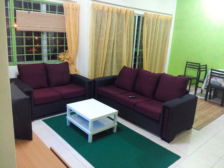 a comfortable space for gathering or enjoying the night tv show etc