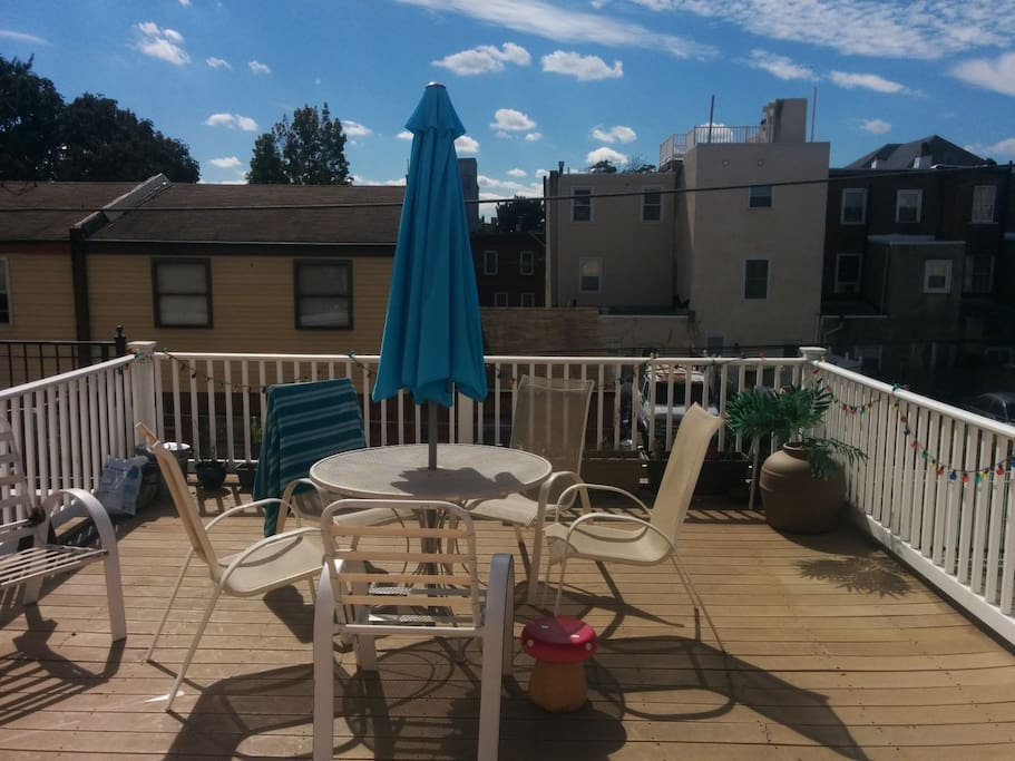 The deck - accessible to guests, and a great place to relax!