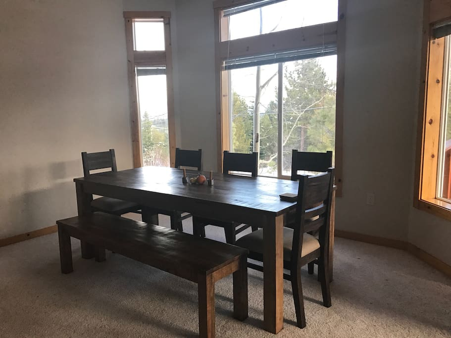Dining room table seats eight with magnificent views