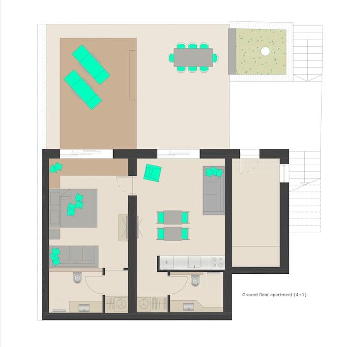 Ground floor apartment plan
