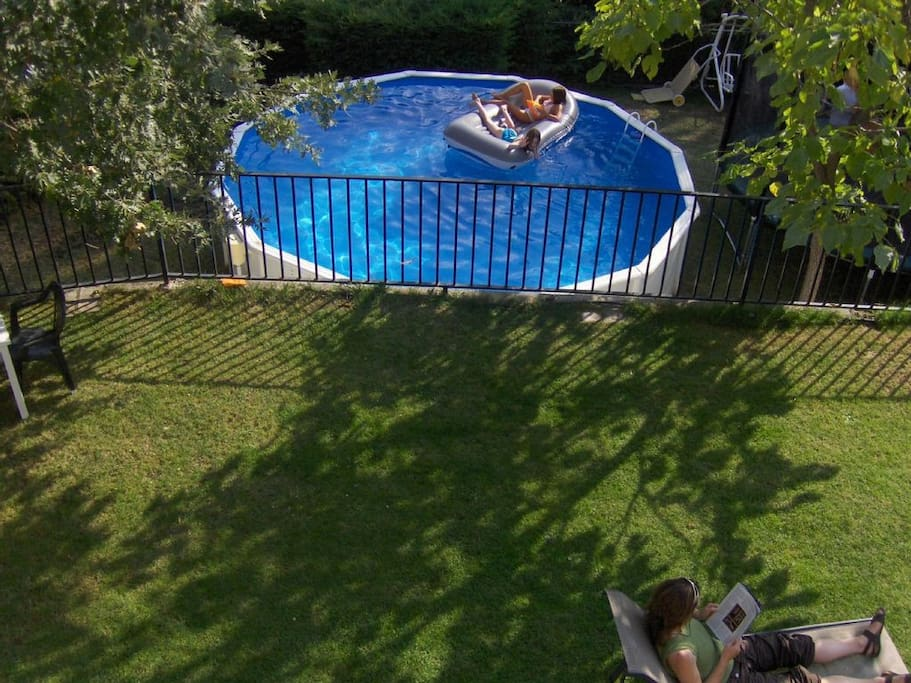 Above ground pool - safe for small kids, just remove ladder