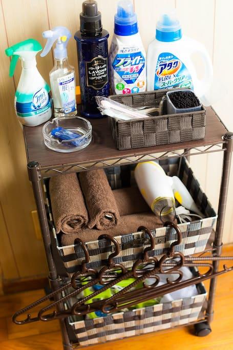 連泊のお客様も安心♪選択に必要な備品も全て揃ってます。