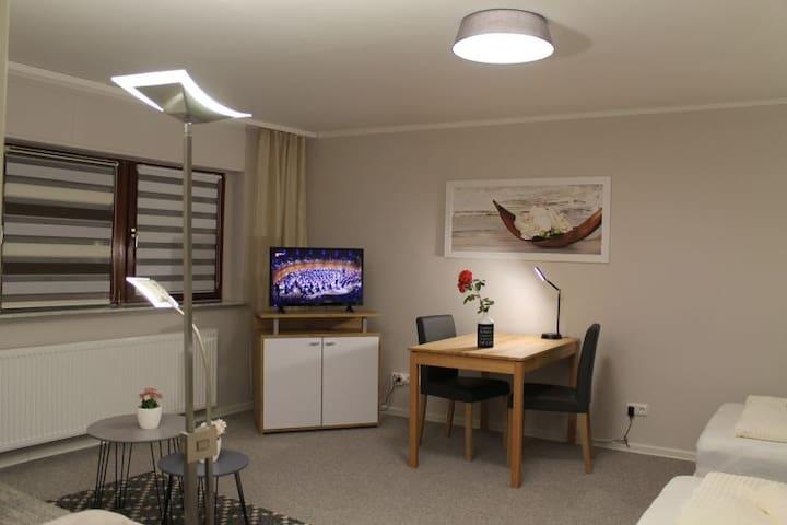Wohn u. Schlafzimmer, TV und Kommode, Esstisch /Schreibtisch, Couchtischer und eine Doppel Schlafcouch