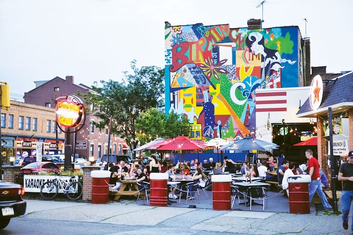 Walk (15 min) or Uber to Pittsburgh's biggest nightlife strip.  Carson Street in the Southside flats!  More bars per square mile than anywhere in the country!