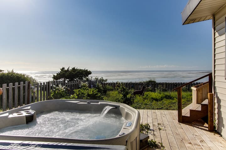 Dog-friendly, oceanfront house w/ private hot tub & beach access