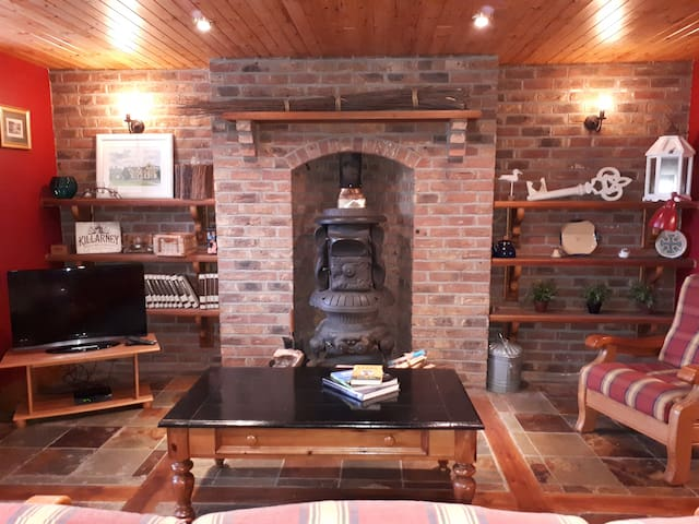 Sitting Room with large potbelly stove
