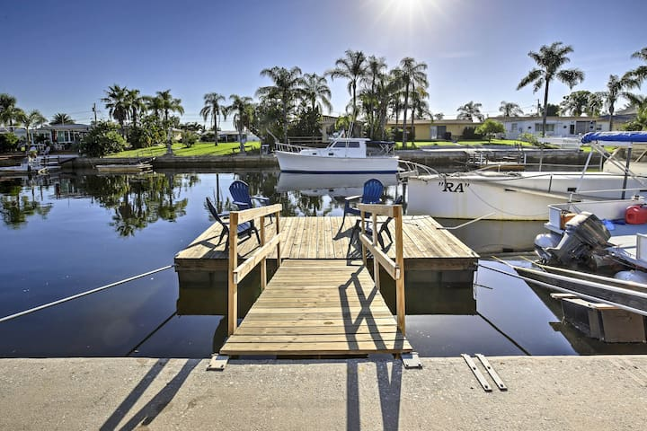 The 2-bedroom, 2-bath getaway boats a floating dock, patio and a lanai.