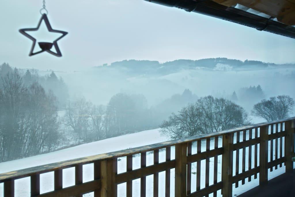 Výhled z terasy v zimě