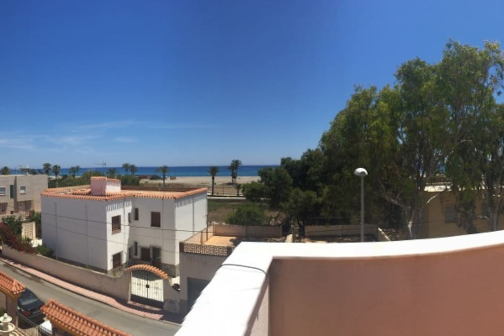 Stunning roof top with amazing views of the Med and the Mountains behind.