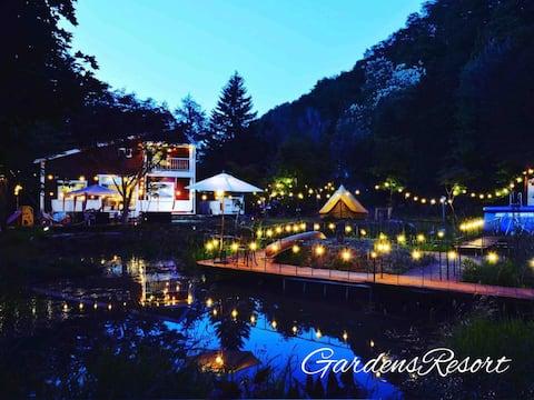 【Gardens Resortときわ】シャレー棟、パーティ、焚火、BBQ、広い占有庭、池、川、滝、森