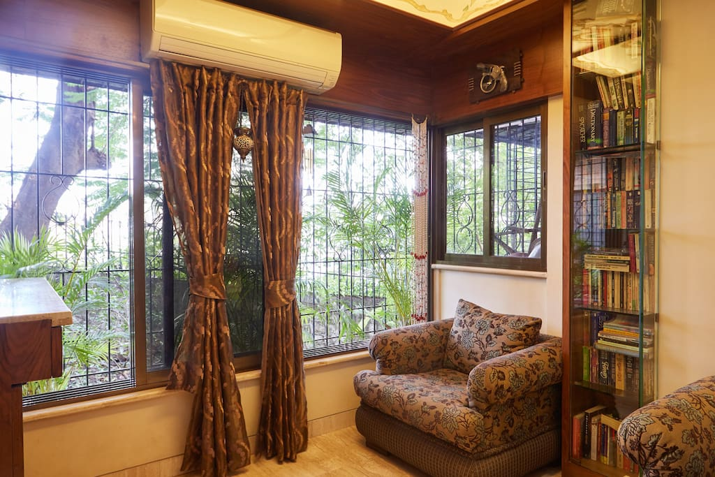 It's a cosy cornor of the house , where u can watch the birds or read a book in peace .. U feel closer to nature