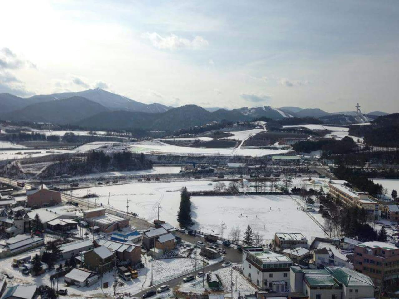 View from our window. Our house is in front of the Pyeongchang Snow Festival