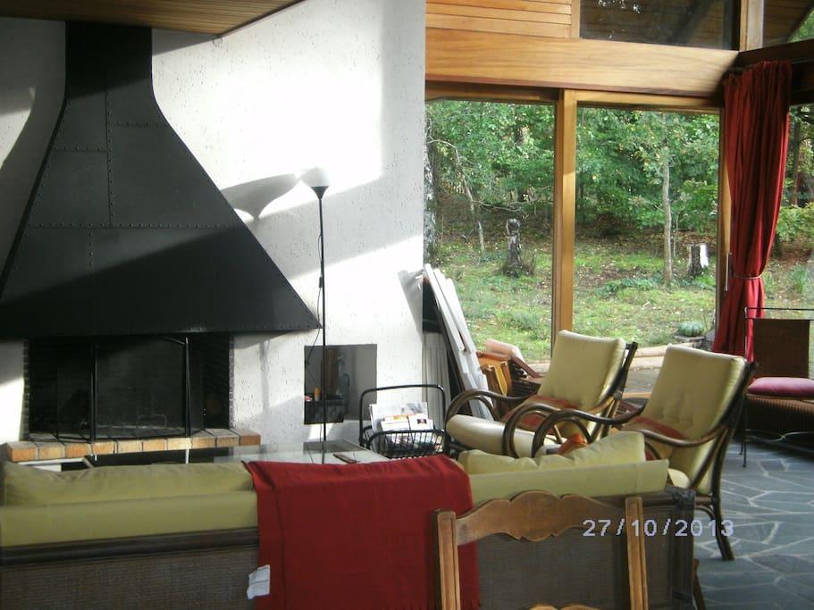salon, cheminée feu de bois