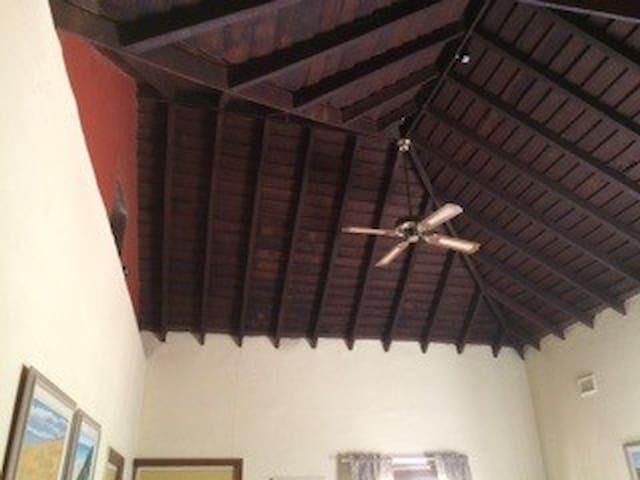 Jarrah beamed ceiling in lounge