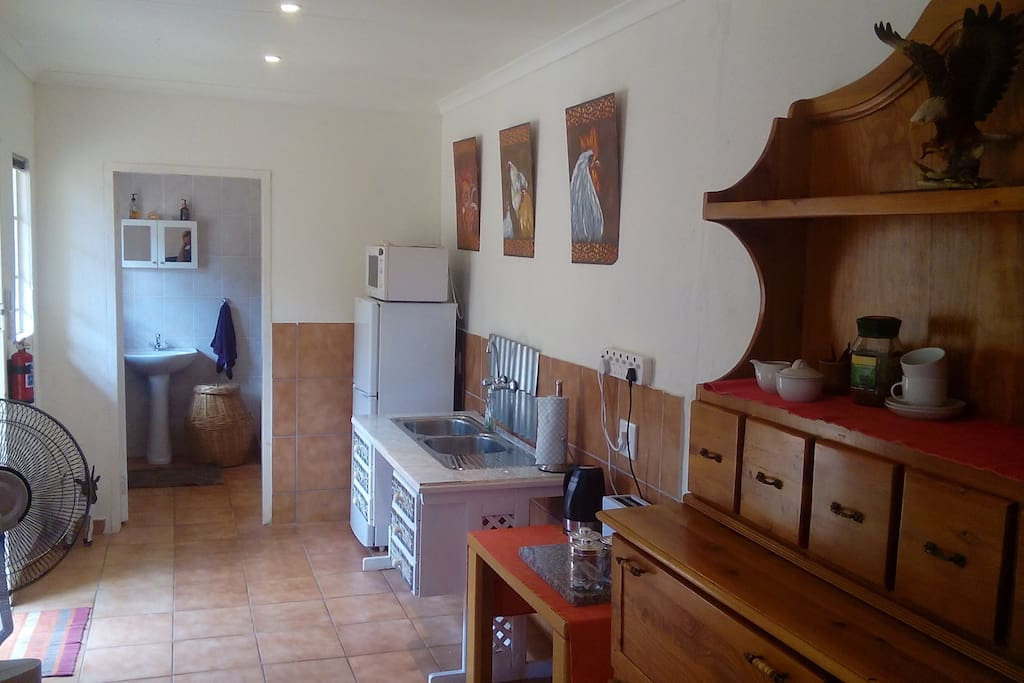 Kitchenette area with fridge, microwave, kettle and toaster