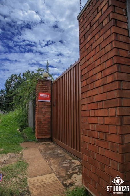 The private compound is fenced with a secure gate