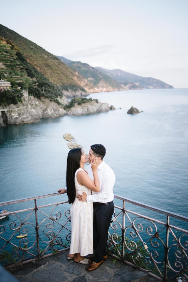 Portraits of a couple with a view of the