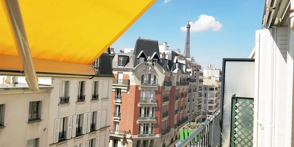 Appartement  vue Tour Eiffel- Bail mobilité