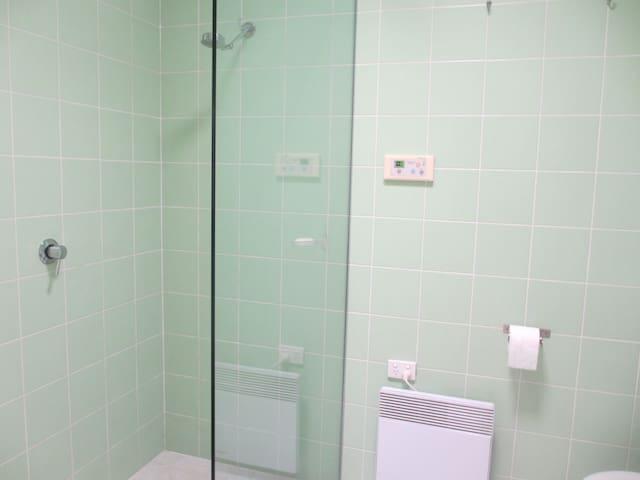 Private toilet, & walk in shower