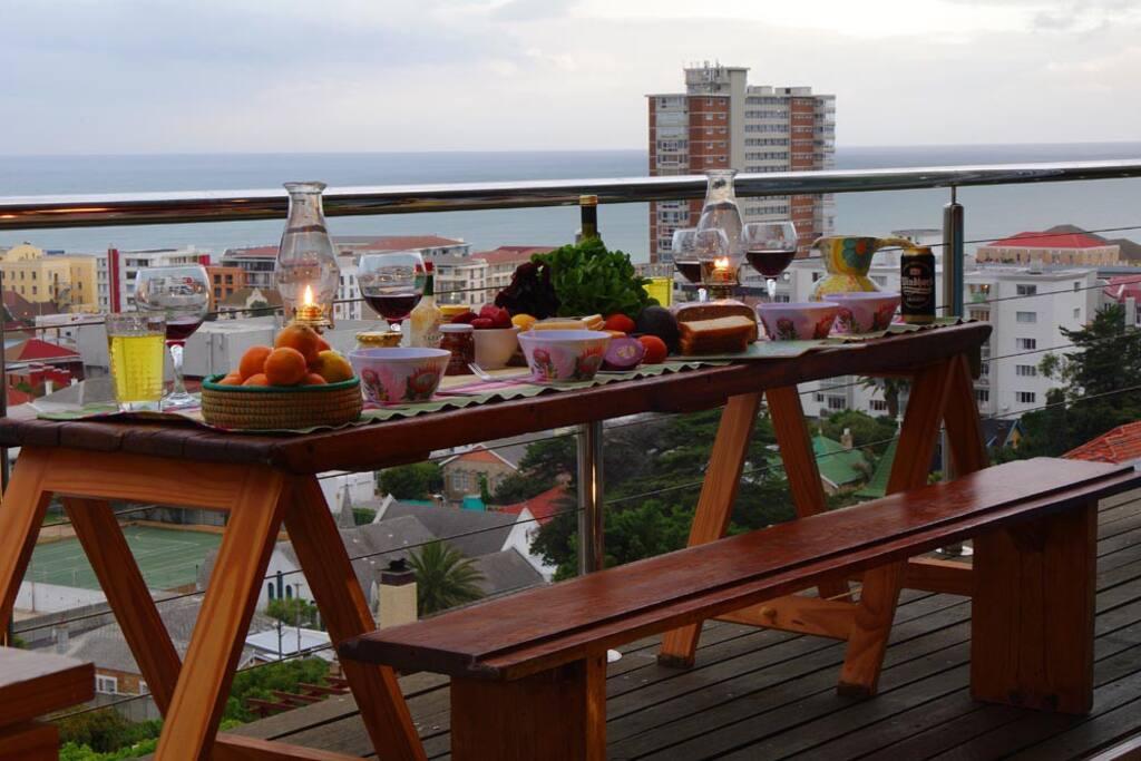 dinner on the balcony
