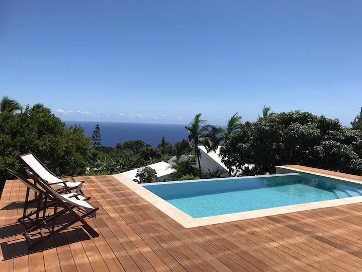 Villa La Montagne vue mer et piscine à débordement