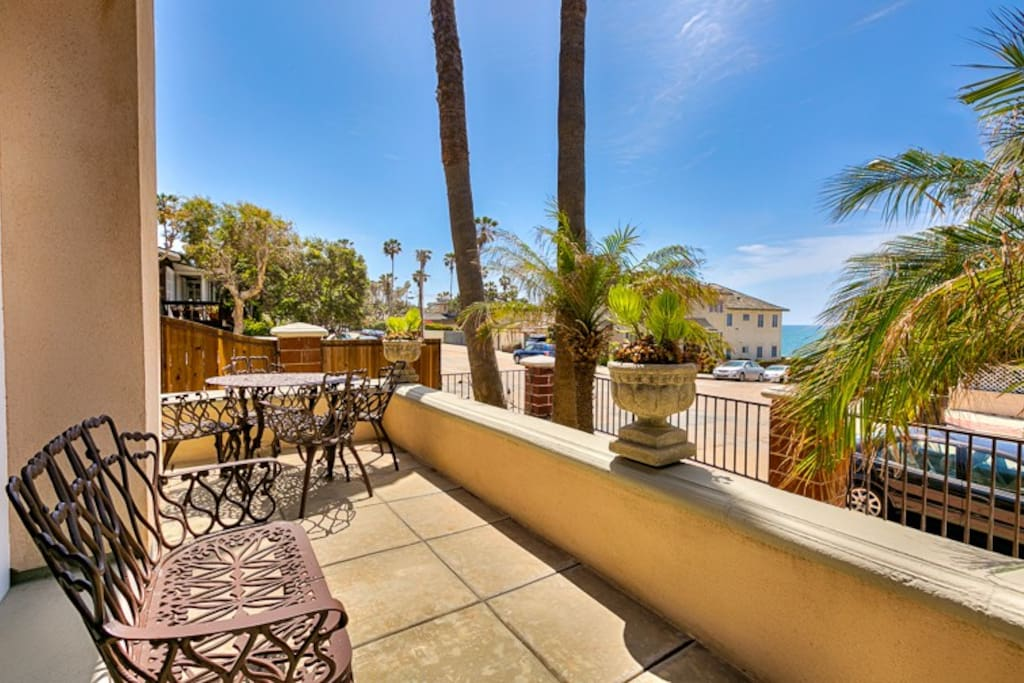Perfect Front Patio with ocean views accessible through sliding glass doors in the Living Room.