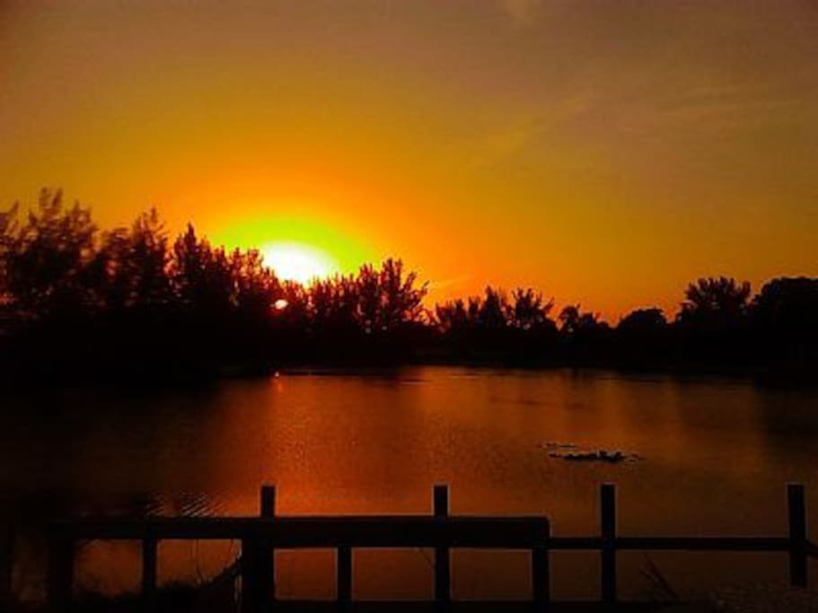Backyard, breathtaking Sunset at the lake!! A new color sunset every night!!