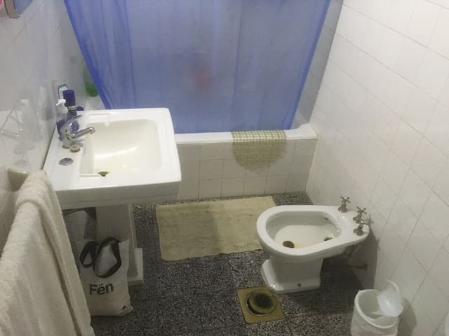 The bathroom with bath tub, shower, bidet and toilet