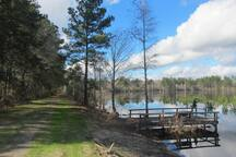 Deerwood Lake has a small dock from which you can fish, or you may choose to take a leisurely stroll all the way around the lake.