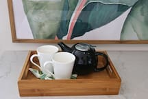Tea and basic kitchen supplies provided