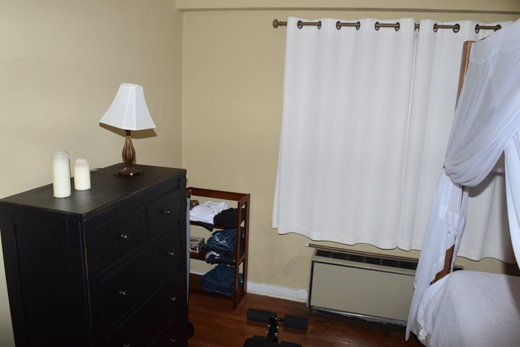 Bedroom - the rack will be available for storing your clothes and a full closet as well.