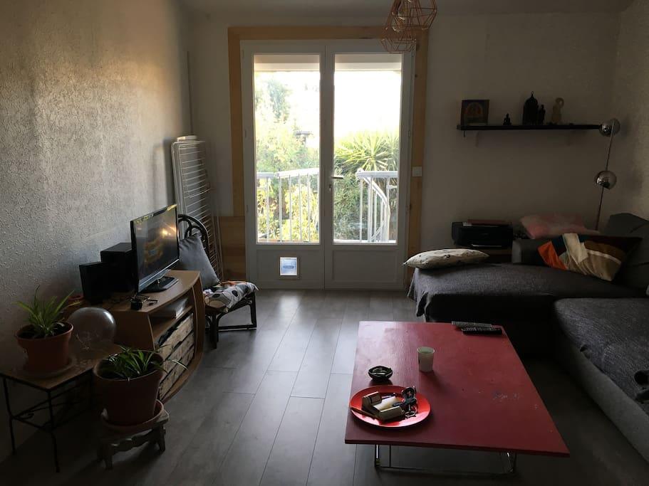 Salon avec accès sur cour et chambre d'ami / bureau