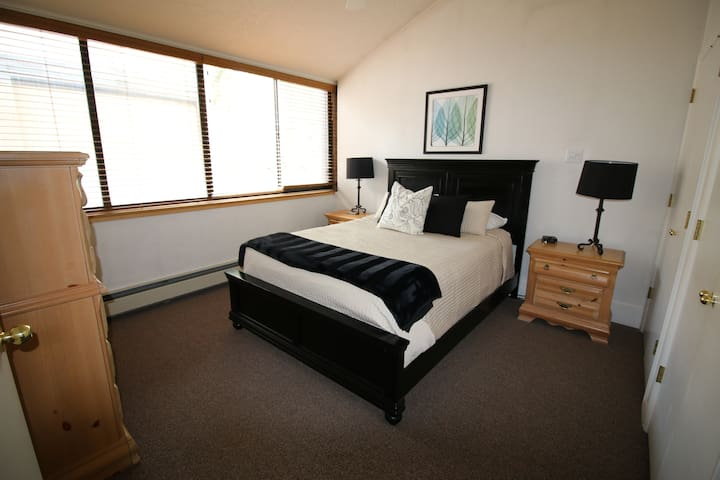 The master suite is located upstairs.