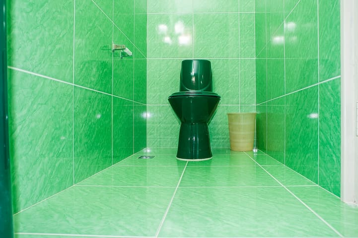 Green-plated bathroom