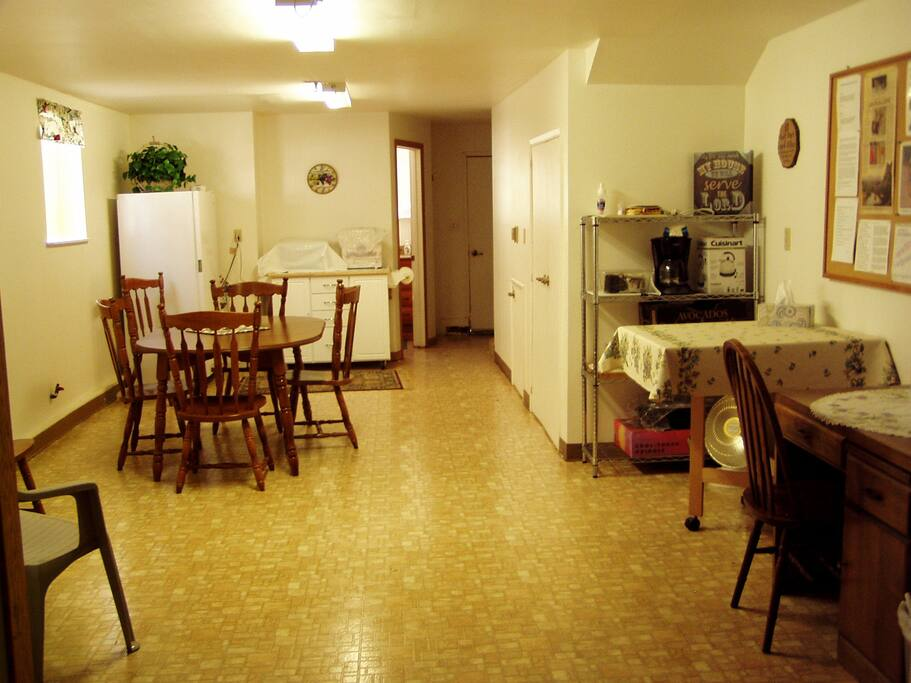COMMON ROOM - tables, chairs, small appliances, refrigerator