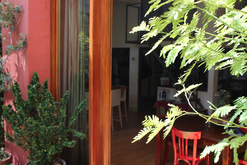 Un loft ouvert sur l'extérieur avec une belle vue sur les plantes.