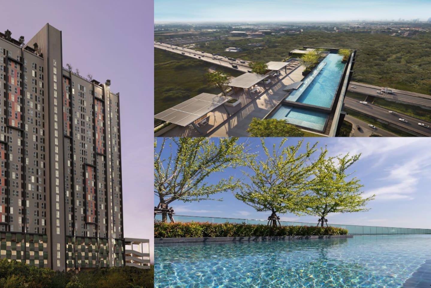 Panoramic view sky pool & Fitness Gym at Roof Top,FL26.Birdeye view to MEGA BangNa&IKEA BangNa store,Bangkok East Area,Suvarnbhumi Airport ,Chaopraya River Bridge and Beautiful view of Temple.