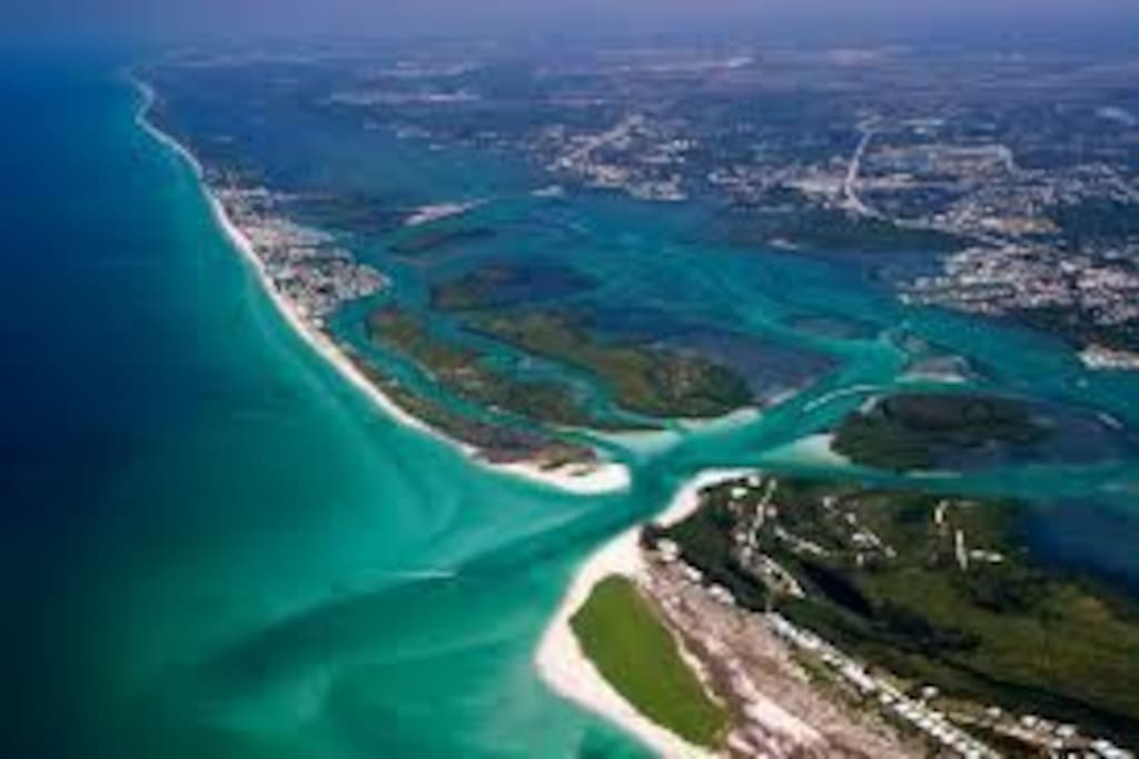 aerial view of the gulf, Lemon Bay and Englewood